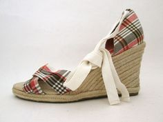 Ann Taylor Loft Plaid Espadrille Wedge Sandal Size 9.5 M Ankle Strap Shoes #AnnTaylorLOFT #plaidheels