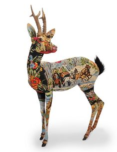 French artist Frederique Morrel revitalizes vintage tapestries by transforming them into works of fantastical embroidered taxidermy. The old tapestries are collected from garage sales and second-hand shops while the animal forms are foam sculptures made from Morrel's won fiberglass molds of deer, horses, rabbits, boar, foxes and even unicorns.