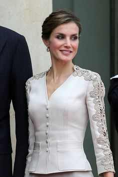 Queen Letizia of Spain attends a meeting with French President Francois Hollande at the Elysee Palace during the first day of their state visit on...