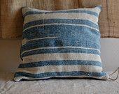 faded indigo vintage textile pillow organic hand dyed. $42.00, via Etsy.