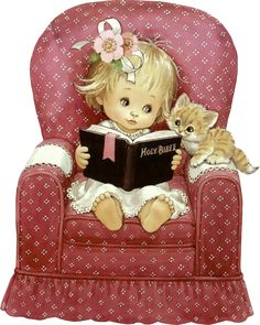 Girl reading with a kitten Illustration by Ruth Morehead
