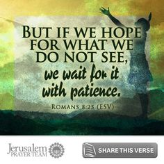 Romans 8:25    But if we hope for what we do not see, we wait for it with patience.    Leave your PRAYERS below and encourage others to pray for peace in Jerusalem when you LIKE and SHARE this verse.