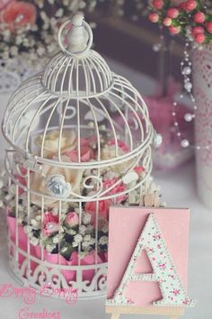 New Bird Cage Ideas Decoration Shabby Chic Baby Shower Ideas Cumpleaños Shabby Chic, Shabby Chic Spiegel, Shabby Chic Tapete, Cocina Shabby Chic, Shabby Chic Mirror, Shabby Chic Baby Shower, Shabby Chic Living Room, Shabby Chic Kitchen, Shabby Chic Homes