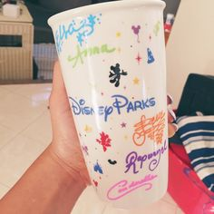 I had the Disney princesses sign my Disney Parks Starbucks mug in ceramic markers! My best idea yet! #starbucks