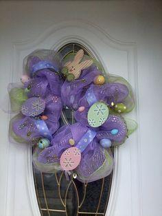 Deco Mesh Spring Easter Wreath