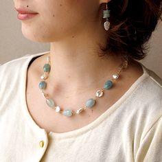 Aquamarine mix necklace | 12,800yen