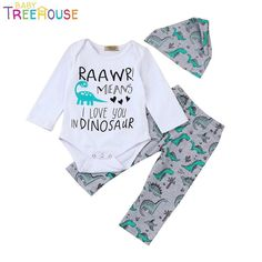 Cute Newborn Infant Baby Boy Girl Raawr mean I love you in dinosaur Letter  Print infantil Romper Tops+Dinosaur Pants Outfits Set 26d925269