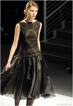 Tadashi Shoji black lace gown at Fashion Week 2012 as seen on YouLookFab