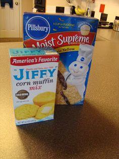Jiffy Mix Recipes, Jiffy Cornbread Recipes, Cornbread Muffins, Cake Mix Recipes, Chili Recipes, Cornbread With Cake Mix Recipe, Cornbread Casserole, Soup Recipes, Fried Cornbread