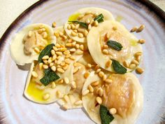 dairy & egg free Squash Ravioli with Sage Oil and Pine Nuts