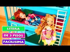 Cómo hacer una Cama Litera Triple para muñecas - acomoda 9 muñecas - manualidadesconninos - YouTube