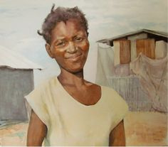 "Original fine art watercolor of this lovely Haitian woman, ""Anite.""  Anite was raising her four children by herself working for a Haitian Cottage Industry, 2nd Story Goods when her next door neighbor was forced to leave her home, took her baby, and left her 8-year old daughter behind. Alone. Anite took her in.  I was so moved by her story that I'm offering to sell ""Anite,"" a limited edition Giclee, for $50.00. From the sale of each print I'll send $35 to 2nd Story Goods.  I"