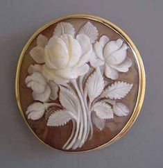 This 1920s vintage flower cameo is amazing! Imagine having to hand carve all the little details in this one vintage brooch?
