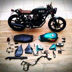 Takashi Kawasaki  CBX 200 Strada => Wasabi Cafe Racer  Faltou o paralama traseiro e a parte do chassi que eu cortei fora.  www.tkdesign.com.br  #wasabicaferacer #caferacer #caferacerbrasil #hondacaferacer