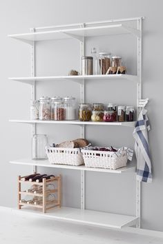 Create a custom pantry in your kitchen with IKEA shelving. The parts in the ALGOT shelving series can be combined in many different ways and personalized to your needs and space.