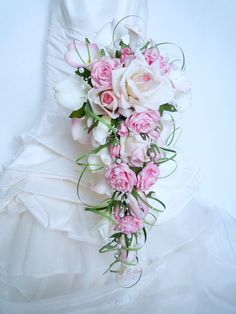 Bridal bouquet of pink waterfall, white rose, calla, arum and buttonhole for . Cascading Wedding Bouquets, Cascade Bouquet, Bride Bouquets, Bridal Flowers, Flower Bouquet Wedding, Floral Bouquets, Romantic Wedding Colors, Wedding Flower Guide, Wedding Events