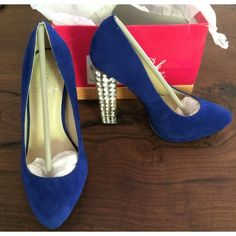 """NIB Pretty Suede Rhinestones Heels Pumps Really beautiful royal blue faux suede leather platform pumps. No flaws. Heels features crystal detail. No missing stones. Heels measure about 4.5"""" with 3/4"""" platform support. Fit true to size ❌No trades or modeling. All reasonable offers always welcome‼️ Thanks for looking at my closet! Boutique Shoes Heels"""