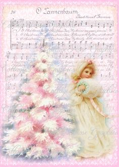 O Tannebaum PINK CHRISTMAS tree shabby cottage Roses Large digital download ECS buy 3 get one free