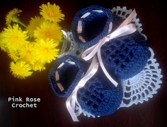 Sapatinho Azul Marinho - Crochê