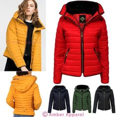 eb7c32a1 Womens Ladies Quilted Padded Coat Bubble Puffer Jacket Fur Collar Hooded  Thick… Mustard Puffer Jacket