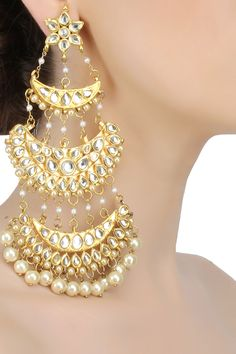 Gold plated triple layered traditional chandbali earrings available only at Pernia's Pop Up Shop.
