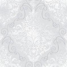 Superfresco Paintable 56 Sq Ft Large Damask White