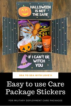 Halloween care packages are a great way to stay connected with your loved one during a military deployment. Visit here to check out hundreds of care package ideas and themes in Sea to Sea with Love's shop! If you are looking for an easy way to decorate your care package, then this is the shop for you! Get inspired to create your own DIY care package with sticker kits. You will love how easy they are to use. These are also perfect for college and long distance packages too! Long Distance Packages, Halloween Care Packages, Deployment Care Packages, Military Deployment, Halloween Themes, Create Your Own, Etsy Seller, College, Packaging