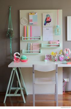 An oversized pegboard that makes it easy to add and adjust shelves as your needs change.