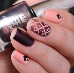 Nailpolis Museum of Nail Art | peach and plum by nathalie lapaillettefrondeuse