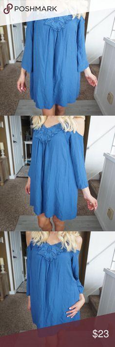 Knox rose blue cold shoulder size small dress 🌻 Knox rose women's size small cold shoulder shift dress 🌼❤️ B1 Knox Rose Dresses Long Sleeve