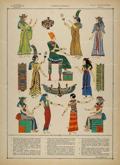 This picture displays various garments that women wore in ancient egyptian, which is usually dress that pleated and it came around the old kingdom times. Ancient Egyptian Clothing, Ancient Egypt Fashion, Egyptian Fashion, Ancient Art, Ancient History, Art History, Egyptian Jewelry, Ancient Aliens, Inspiration Artistique