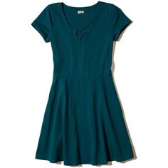 Hollister Strappy Front Knit Skater Dress ($40) ❤ liked on Polyvore featuring dresses, dark teal, strap dress, dark teal dress, blue cap sleeve dress, blue dress and short cap sleeve dress