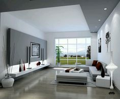 Good ideas for modern interior design with big white sofas and visalia ceramic tile with white and grey wall painting