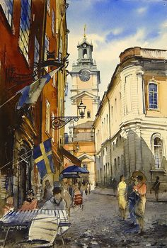 Vjacheslav Kurseev - watercolor artist from Saratov city, Russia. Russian Painting, Russian Art, Watercolor And Ink, Watercolor Paintings, Watercolors, Watercolor Techniques, Urban Art, Stockholm, Landscape Paintings