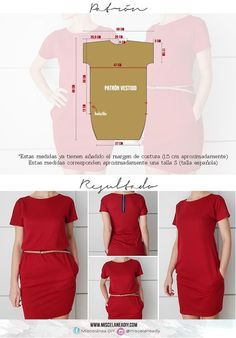 Patrón para hacer un vestido muy fácil con manga japonesa y bolsillos