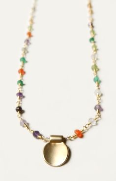 handmade gold necklace with mixed semi precious stones by flow designs fall jewelry fashion
