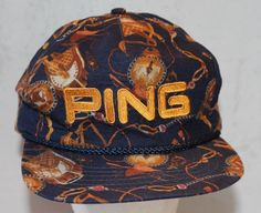 Vintage PING Hat with Equestrian Theme,  Ldeather Back Strap, Hard to Find Pattern, Made in  USA by ilovevintagestuff on Etsy
