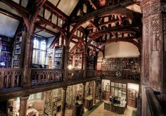 "cair–paravel: ""Gladstone's Library in Hawarden, Wales. It was founded in 1894 by former Prime Minister William Gladstone and built by John Douglas in the late "" Beautiful Library, Dream Library, Library Books, Library Shelves, College Library, Aberystwyth, Reading Room, Book Nooks, Abandoned Mansions"
