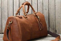 Handmade leather men Travel Duffle Bag Laptop Weekender Bag Overnight Bag vintage shoulder vintage bag
