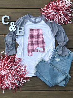 Red Houndstooth State of AL – Cotton and Blues Alabama Football Shirts, Crimson Tide Football, Alabama Crimson Tide, Vinyl Shirts, Roll Tide, Houndstooth, Trendy Outfits, My Style, Tennessee Volunteers
