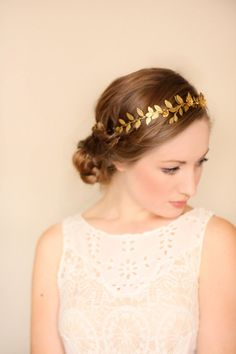 Climbing Vine Headband Gold Tiara Leaf Halo Gold by AnnaMarguerite