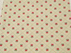 Vintage Fabric Fat Quarter Country Tulip Hearts Red by dalesdreams, $3.00