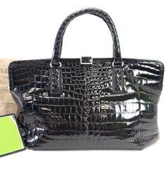 Authentic BOTTEGA VENETA Black Crocodile HandBag Tote w/dust bag mirror Italy #BottegaVeneta #Satchel