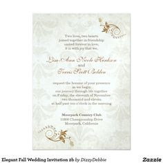 "Elegant Fall Wedding Invitation 2b 5"" X 7"" Invitation Card"