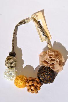 Collana marrone beige oro seta raso sfere perline di comivishop