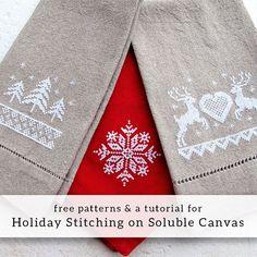 Stitching on DMC water soluble canvas - free holiday stitching charts