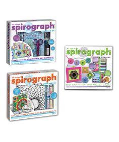 They still make these! Spirograph scrapbook kit, Spirograph string art kit and Spirograph paint canvas
