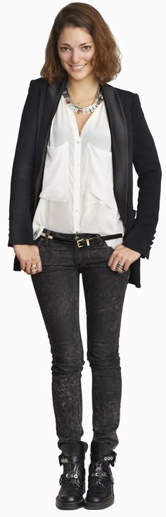 Love flowy shirt/ blouses, with slightly more masculine accessories.