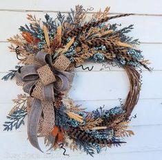 Spring Wreath, Winter Wreath,Front Door Silk Floral Wreath, Year Round Wreath,Rustic Wreath,Rustic Wreath,Woodland Wreath-Monogram