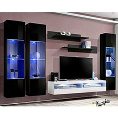 Orren Ellis This entertainment center features high gloss fronts with a matte body and LED lights system. Fronts opened by touch tip-on system and no handles necessary. It is easy to install with pins and eccentric type connections. Living Room Storage, Storage Spaces, Brown And Grey, Black And White, White Tv, Black Tv, Floating Entertainment Center, Lumiere Led, Wall Installation
